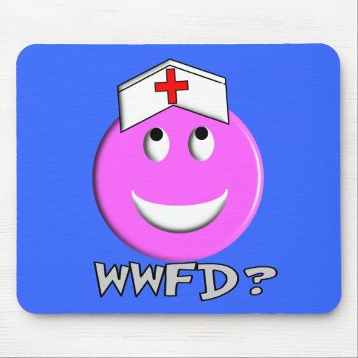 "Student Nurse Big Pink Smiley ""WWFD?"" Mouse Pad"