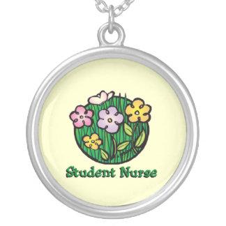 Student Nurse Blooms Round Pendant Necklace