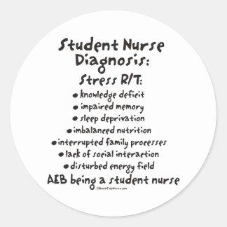 Student Nurse Diagnosis: Stress Classic Round Sticker