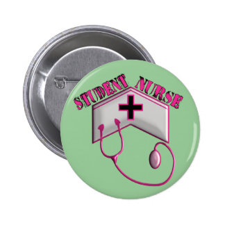 Student Nurse EMBOSSED Cap and Stethoscope 2 Inch Round Button