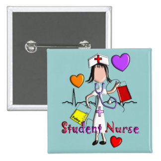 Student Nurse Gifts Embossed Style Graphics 2 Inch Square Button