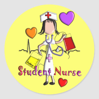 Student Nurse Gifts Embossed Style Graphics Classic Round Sticker