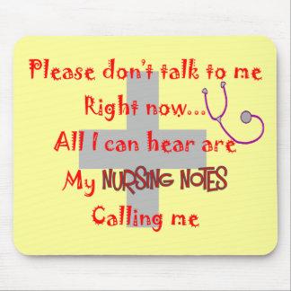 "Student Nurse ""Nursing Notes"" Funny T-shirt Mouse Pad"