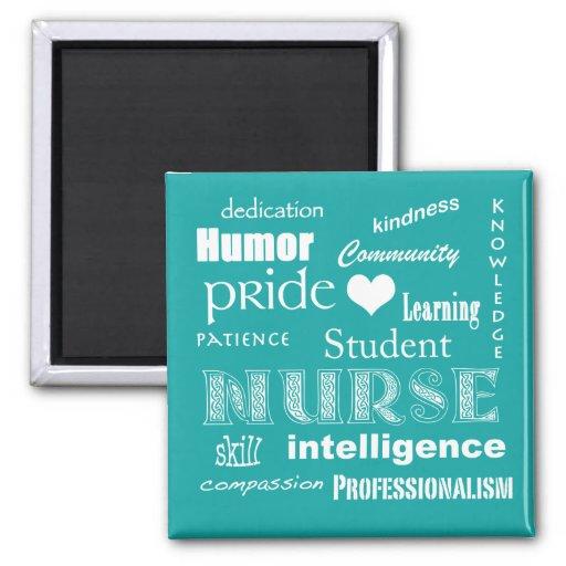 Student Nurse Pride Attributes-Aqua Blue+heart Magnets
