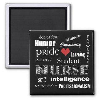 Student Nurse Pride Attributes-Black and White Magnet