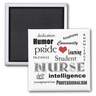 Student Nurse Pride Attributes-Black/White+heart Magnet