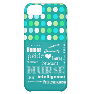 Student Nurse Pride-Attributes/Blue Green Polkadot Cover For iPhone 5C