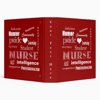 Student Nurse Pride-Attributes/Deep Red 3 Ring Binder