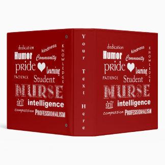Student Nurse Pride-Attributes/Deep Red 3 Ring Binder