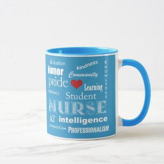 Student Nurse Pride-Attributes+Heart/Aqua Blue Mug