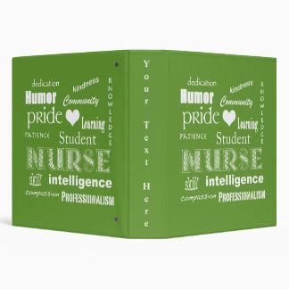 Student Nurse Pride-Attributes/Lime Green 3 Ring Binder
