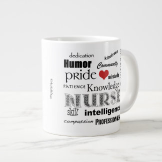 Student Nurse Pride-Attributes+red heart Large Coffee Mug