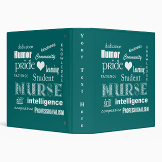 Student Nurse Pride-Attributes/Sea Green 3 Ring Binder