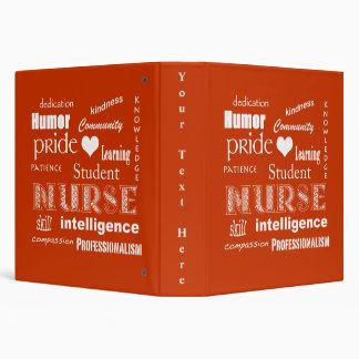 Student Nurse Pride-Attributes/Tangerine 3 Ring Binder