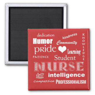 Student Nurse Pride Attributes-Tomato Red+heart Magnet