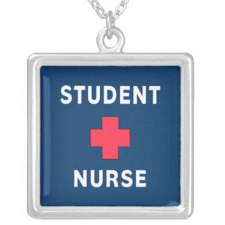 Student Nurse Square Pendant Necklace