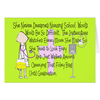 "Student Nurse Story Art Gifts--""Foley Bag"" Funny Greeting Cards"