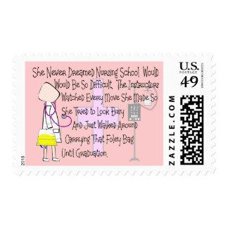 "Student Nurse Story Art Gifts--""Foley Bag"" Funny Postage Stamp"