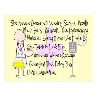 "Student Nurse Story Art Gifts--""Foley Bag"" Funny Postcard"