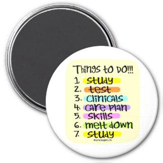 Student Nurse To Do List 3 Inch Round Magnet