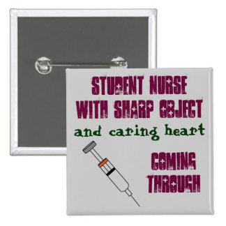 Student nurse with syringe button