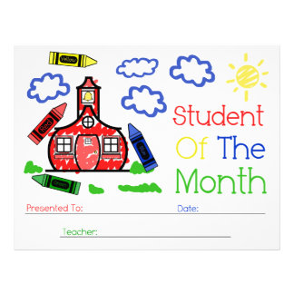 Student of The Month Award - Schoolhouse & Crayons Letterhead