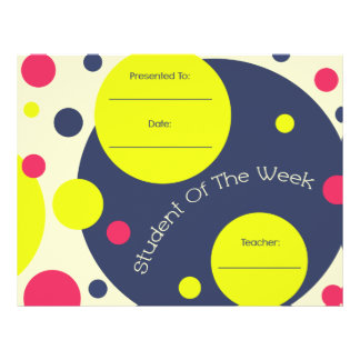Student of The Week Award Certificate Letterhead