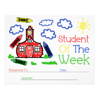 Student of The Week Award - Schoolhouse & Crayons Customized Letterhead