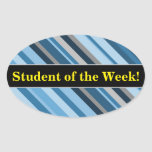 "[ Thumbnail: ""Student of The Week!"" + Blue and Grey Stripes Sticker ]"