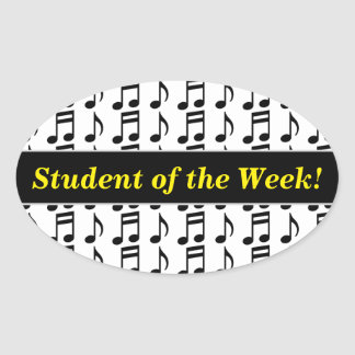 """""""Student of the Week!"""" + Grid of Musical Notes Oval Sticker"""