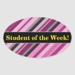 "[ Thumbnail: ""Student of The Week!"" + Pink/Purple/Grey Stripes Sticker ]"
