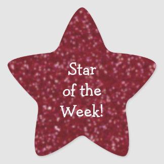 Student of the Week Red Glitter Star Stickers