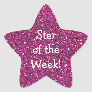 STUDENT OF WEEK PINK GLITTER STAR STICKERS