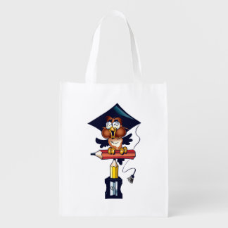 Student Owl with Grad Hat  Back to School Reusable Grocery Bag