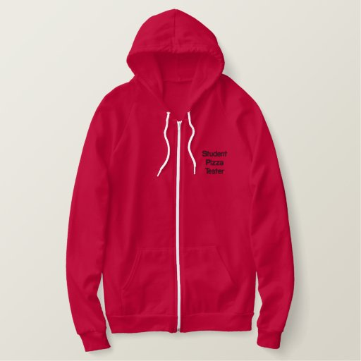 Student pizza tester embroidered hoodie