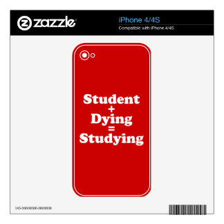 Student Plus Dying Equals Studying Decals For The iPhone 4