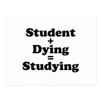 Student Plus Dying Equals Studying Postcard