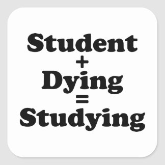 Student Plus Dying Equals Studying Square Sticker