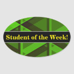 [ Thumbnail: Student Praise + Abstract Green Triangles Pattern Sticker ]