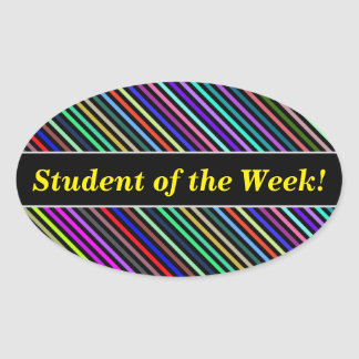 Student Praise + Black & Colorful Lines Pattern Oval Sticker