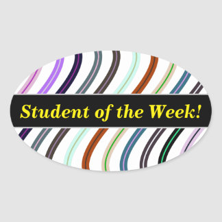 Student Praise + Colorful Wavy Lines Pattern Oval Sticker