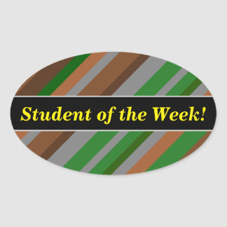 Student Praise + Green, Brown and Grey Stripes Oval Sticker