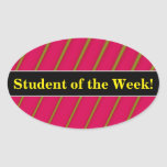 [ Thumbnail: Student Praise + Green Lines On Crimson Pattern Sticker ]