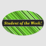 [ Thumbnail: Student Praise + Green Lines/Stripes Pattern Sticker ]