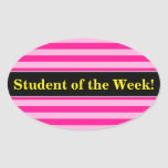 [ Thumbnail: Student Praise + Light Pink & Deep Pink Stripes Sticker ]