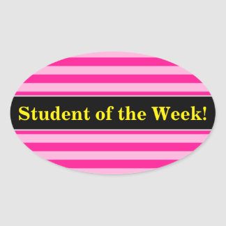Student Praise + Light Pink & Deep Pink Stripes Oval Sticker