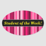 [ Thumbnail: Student Praise + Magenta & Pink Striped Pattern Sticker ]