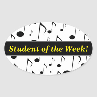 Student Praise + Many Musical Notes Pattern Oval Sticker