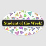 [ Thumbnail: Student Praise + Multicolored Triangles Pattern Sticker ]