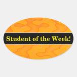 [ Thumbnail: Student Praise + Orange Blob Or Splotch Pattern Sticker ]
